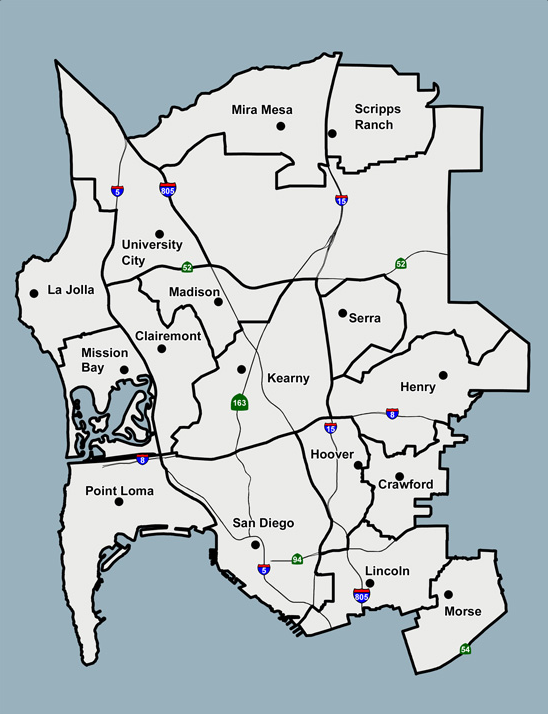 san diego unified school district school boundaries, 2016-17
